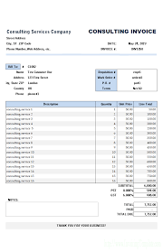 example receipt template consulting invoice template