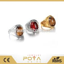 poya jewelry central asian style gemstone rings snless steel ear grain stone ring custom