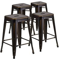 distressed metal bar stools. contemporary stools flash furniture 4 pk 24u0027u0027 high backless distressed copper metal  indooroutdoor on bar stools o