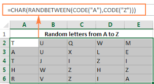 random letters excel