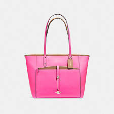 COACH f59125 CITY TOTE WITH POUCH IN CROSSGRAIN LEATHER LIGHT GOLD BRIGHT  FUCHSIA
