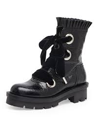 alexander mcqueen patent leather lace up combat boot black
