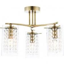 73750 alda 3 light semi flush ceiling antique brass clear glass drops
