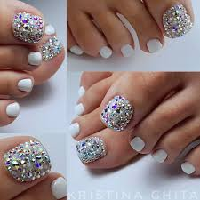 Nail Show Design White Pedi With Clear And Mixed Rhinestones Sandals Only To