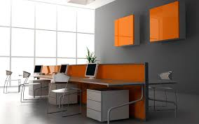 office color ideas. Office:Stylish Office Design Ideas In Cool Grey And Orange Colors Modern Color T