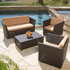 Christopher Knight Home Brown 4 piece All weather Wicker Patio Furniture Sofa Set Brown Outdoor Furniture