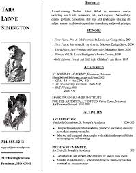 High School Resume Sample Artist College Admission Artist Resume