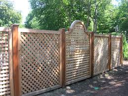 exterior: Fascinating Wooden Fence With Gorgeous Design Which Is Made Using Unique  Fence Ideas Installed