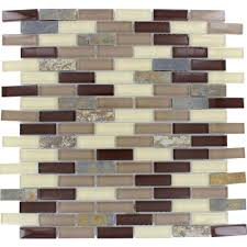 rolling hills brick 12 in x 12 in x 6 mm glass stone mesh