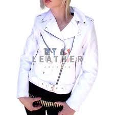 las white biker custom leather jacket