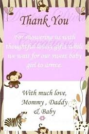 Baby Gift Thank You Note Thank You Notes For Baby Shower Monkey Thank You Cards Baby Shower
