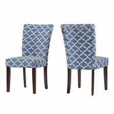 light blue dining chairs. Modern Light Blue Fabric Moroccan Quatrefoil Pattern Parsons Style Dining Chairs   Wood Finish Wooden Legs - Set Of 2 L