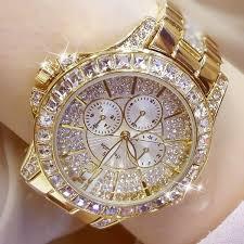 Ladies Diamond <b>Watch</b> Gold Plated <b>Women Luxury Fashion</b> Quartz ...