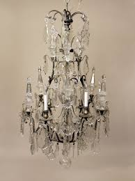 late 19th century silvered bronze and baccarat crystal twelve light chandelier