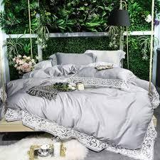 senarai harga egyptian cotton silver white bedding set queen king size bed sheet set fitted sheet bed duvet cover parrure de lit ropa de cama terkini di