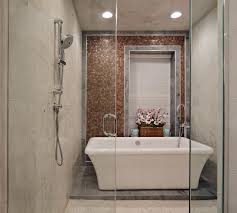Transitional Spa Bathroom And Shower Combo Features Freestanding Bathtub  (Image 16 of 16)
