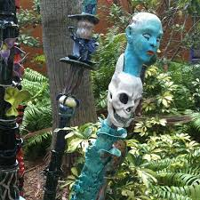 fl ceramic bamboo or pottery garden totems at manatee art center in bradenton fl