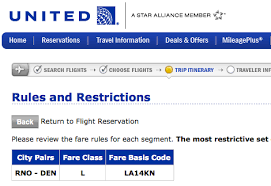 List And Description Of All United Airlines Fare Classes