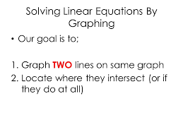 6 solving linear equations by graphing