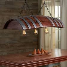 one third oak wine barrel chandelier wood lamps restaurant bar pendant
