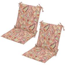 chili paisley mid back outdoor dining chair cushion 2 pack