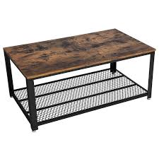 calvin industrial vintage coffee table cocktail table w storage shelf for living room wood accent furniture w metal frame com