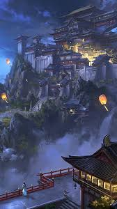 Anime Sky Lantern Mountain Japanese Castle Night