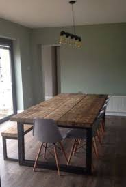 reclaimed industrial chic 10 12 seater dining table bar cafe restaurant furniture steel solid wood metal made to mere 473