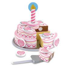Melissa And Doug Retro Kitchen Melissa Doug Triple Layer Party Cake Wooden Play Food Set Toys