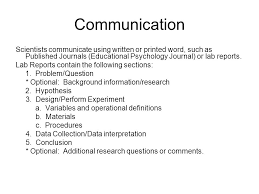 thinking like a scientist ppt video online communication scientists communicate using written or printed word such as published journals educational psychology