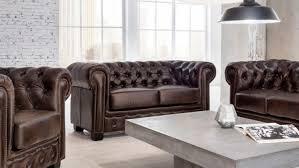 Chesterfield Sofa 2 Sitzer Leder Braun Antik Luxus