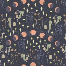 Moon Pattern Inspiration Night Creatures Seamless Vector Pattern With Night Garden And Stars