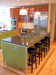 Classic Bedroom with Rectangular Shape Green Kitchen Island Ideas, Square  Leg Wooden Bar Seating,