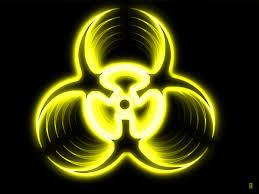 Yellow Biohazard Glowing Simple Background Black Background