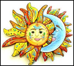 large ceramic sun wall art
