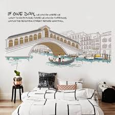 lovely clover city scenery buildings bridge ships river wall sticker decal home paper pvc murals house