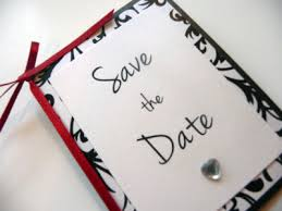 Red Save The Date Cards Black And White Patterned Folded Save The Date With Bowed Red Satin Ribbon