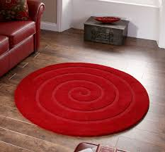 spiral red round rug