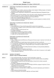 Industrial Maintenance Mechanic Resume Sample Image Gallery