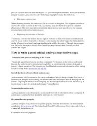 how to write a good critical analysis essay  4 positive