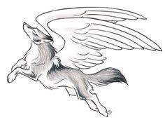 white wolf with wings drawing. MysticalFantasy Leaping Wolf Drawing With Wings Tattoo Cute Animal Drawings For White