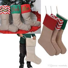 12 16in diy burlap stocking gift bags canvas xmas stockings decorative for home socks bags free ship by dhl whole
