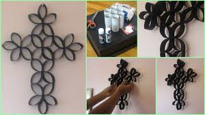diy room decoration cross wall art using toilet paper rolls you
