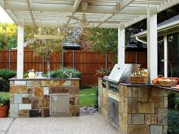 Outdoor Kitchen  White Pergola Plus Simple Fan Above Nice Floor - Bull outdoor kitchen