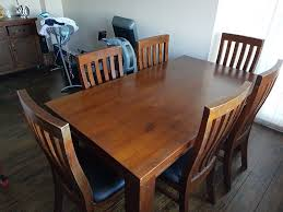 Dark Oak Quality Wooden Dining Table X 6 Chairs In Catshill
