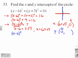 find the x and y intercepts of a circle 9 1 33