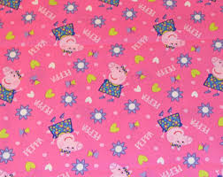 Peppa pig fabric | Etsy & PEPPA PIG FABRIC / 1/2 Yard For Quilting - Doll Clothes / Pink Adamdwight.com