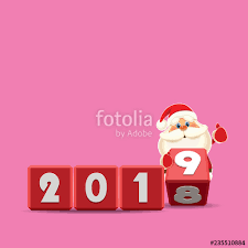 Rotating Numbers Santa Claus Changing Date From 2018 To 2019 Rotating Cubes With