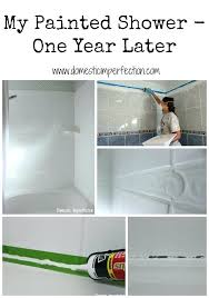 can you paint a plastic tub surround this woman painted her shower here is how it