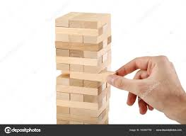Game Played With Wooden Blocks Male Hand Playing Wooden Blocks Tower Game Jenga White Background 42